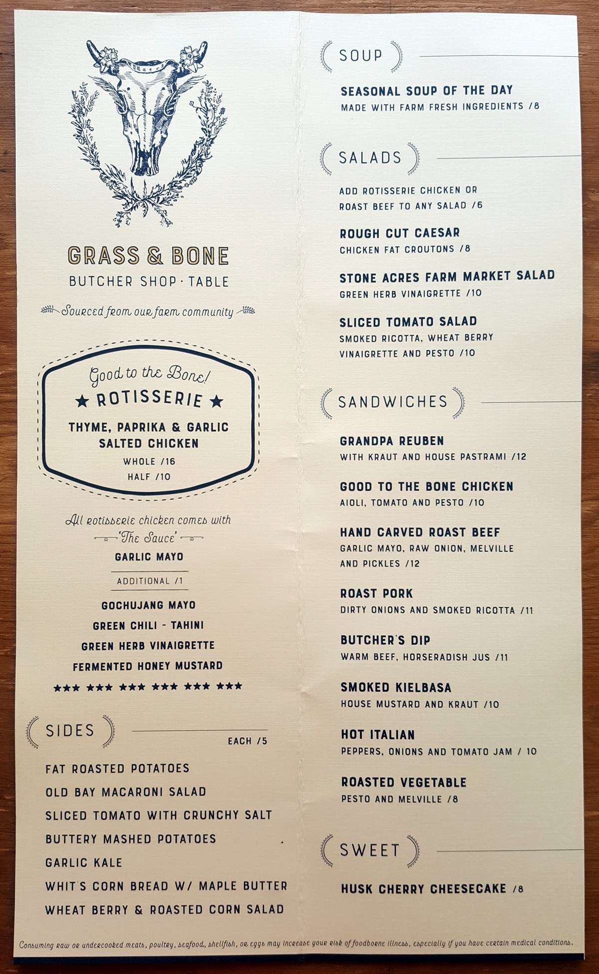 Grass and Bone restaurant menu