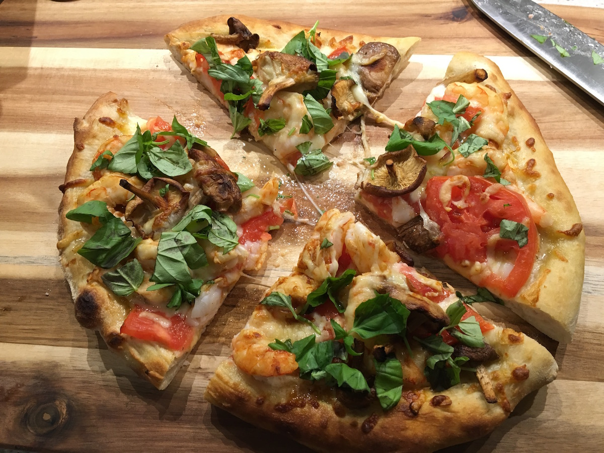 Shrimp and shiitake mushroom pizza